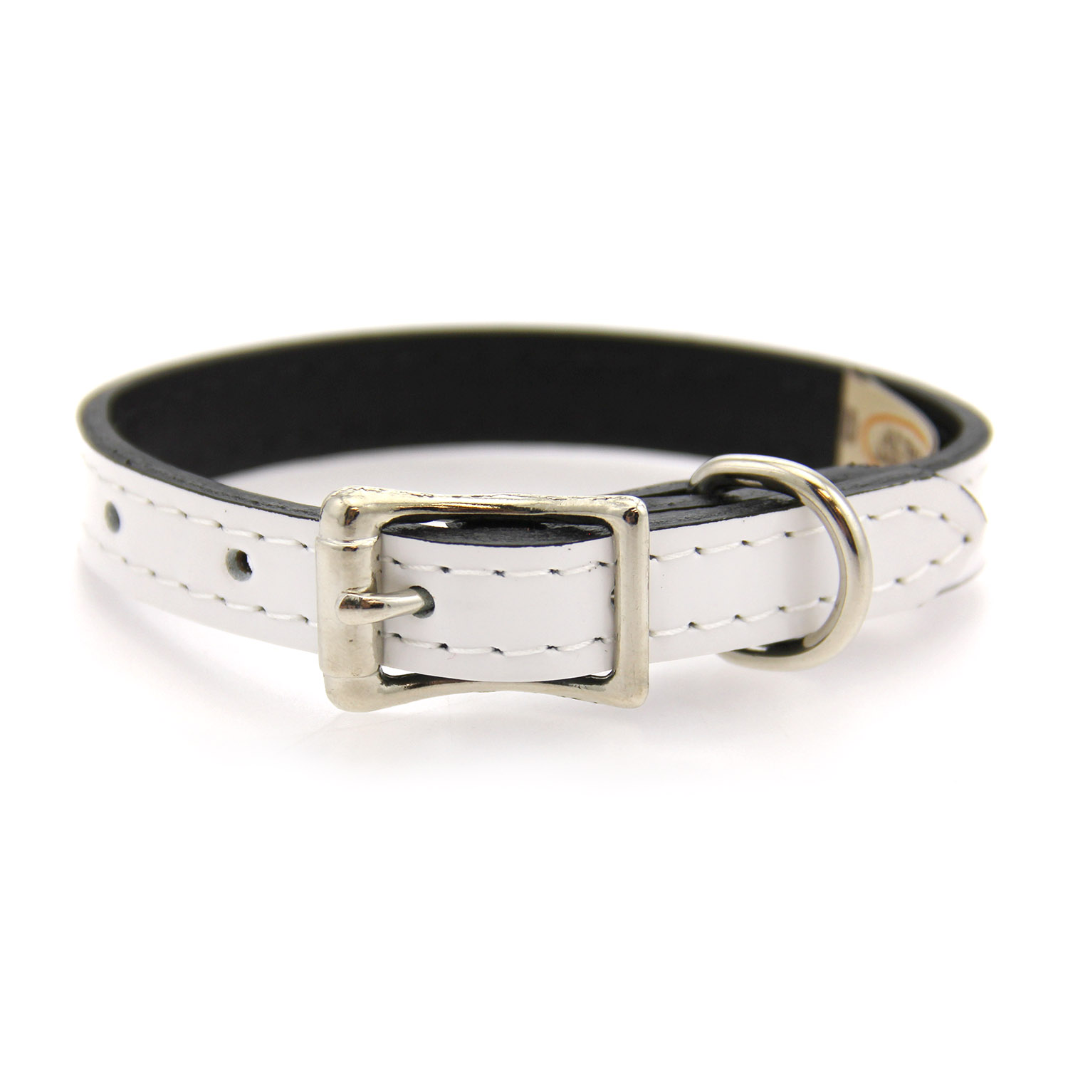 Manhattan Patent Leather Dog Collar by Auburn Leather - White