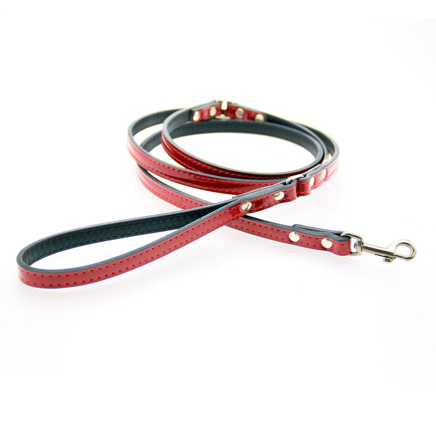 Manhattan Patent Leather Dog Leash by Auburn Leather - Red