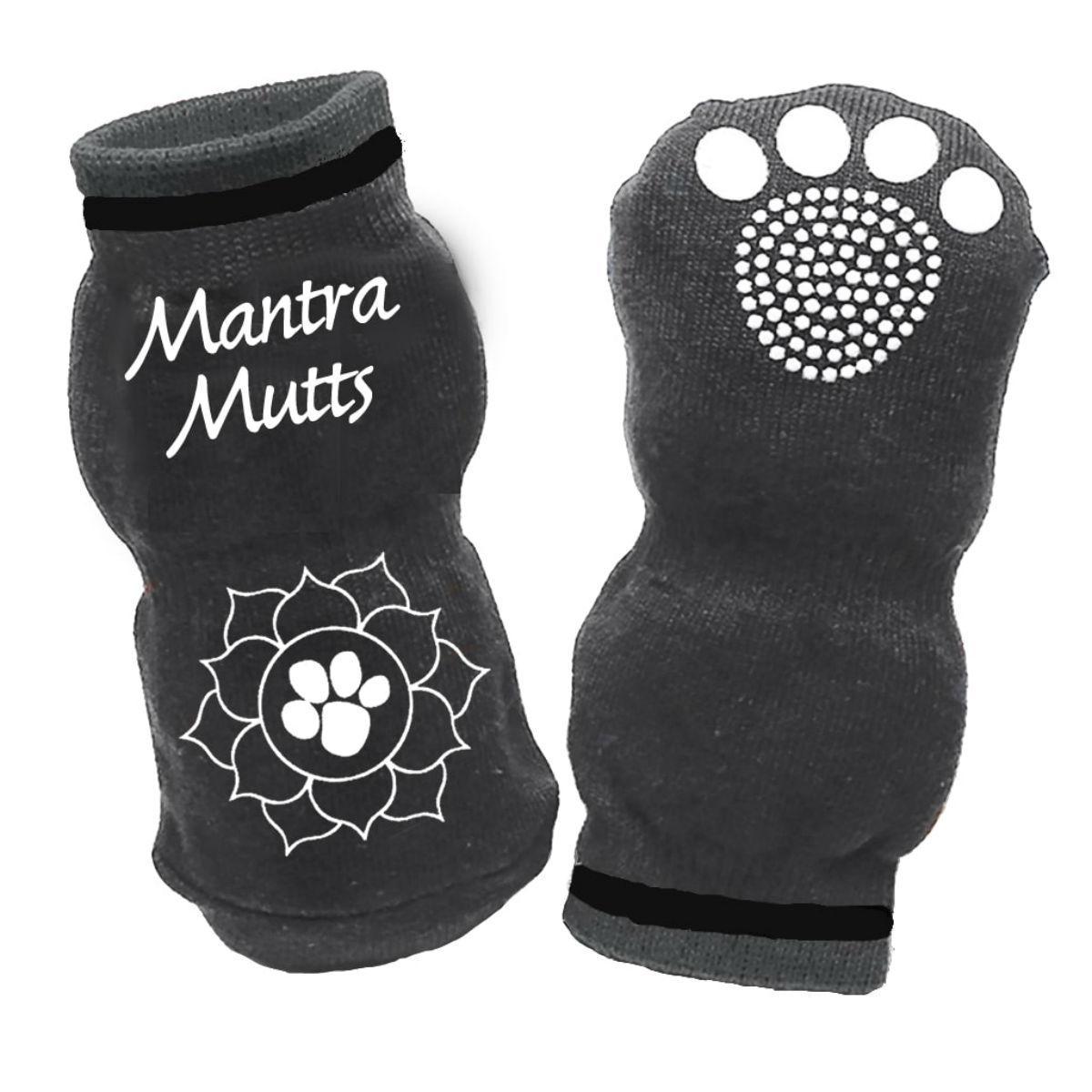 Mantra Muttsoks Dog Socks by Muttluks - Gray Lotus Paw