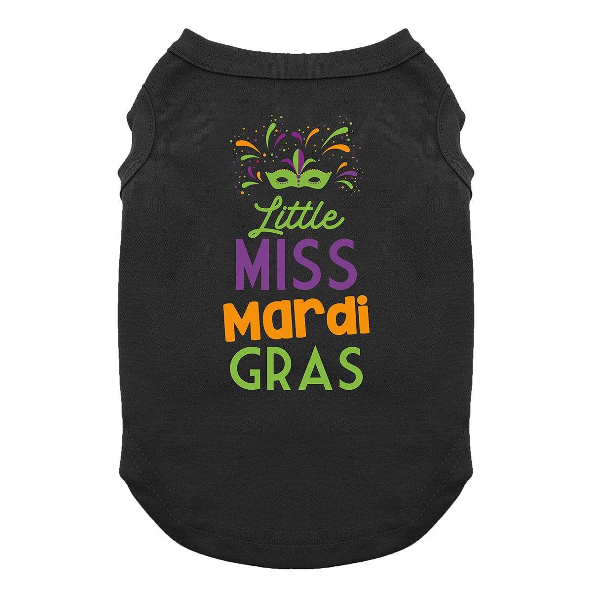 Little Miss Mardi Gras Dog Shirt - Black