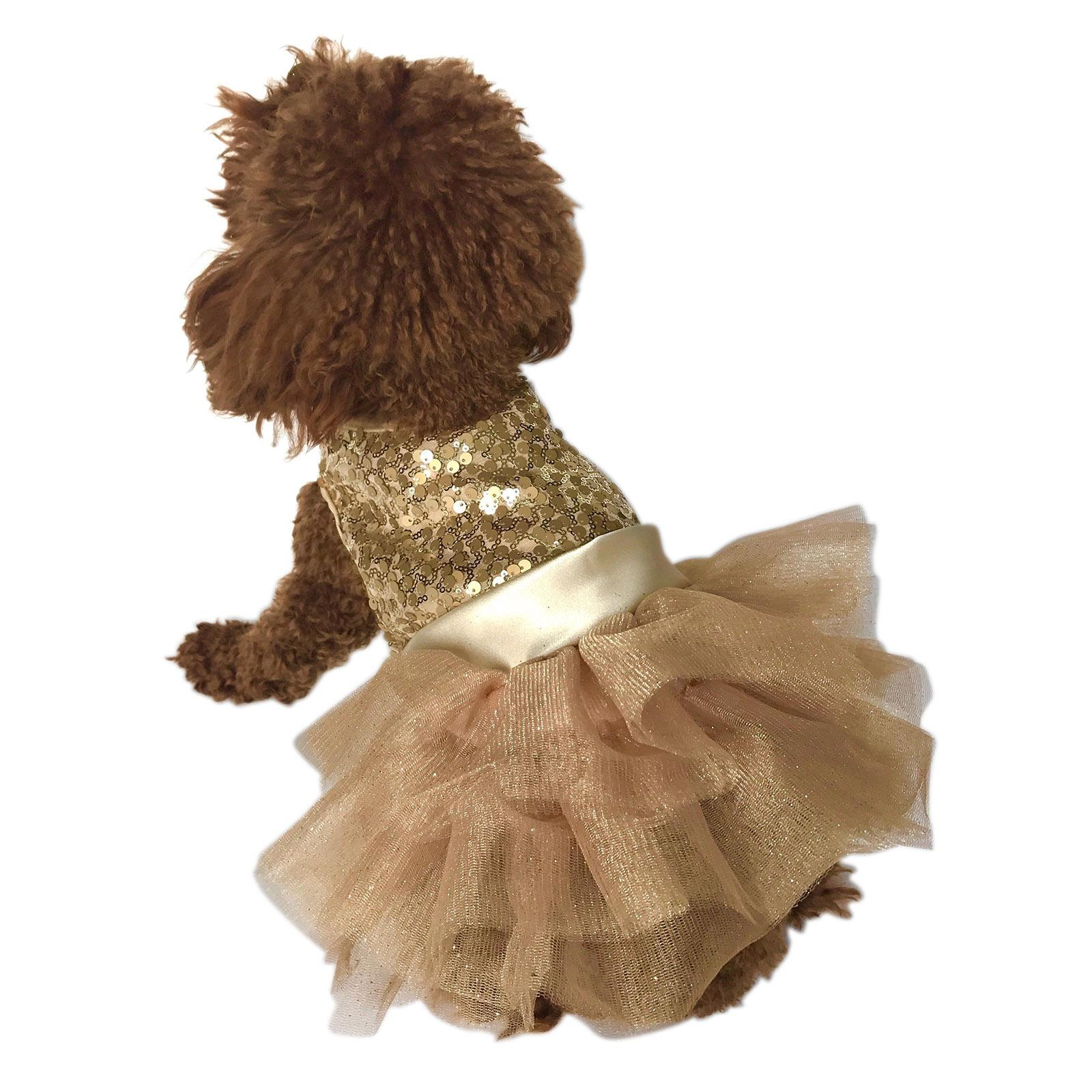 Marilyn Sequin Fufu Tutu Dog Dress - Light Gold