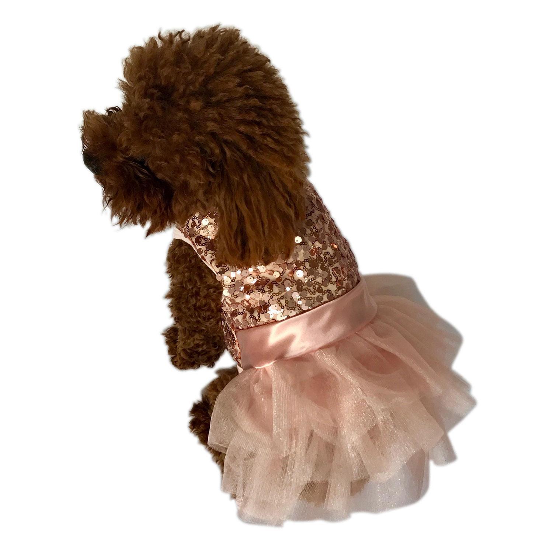 Marilyn Sequin Fufu Tutu Dog Dress - Rose Gold