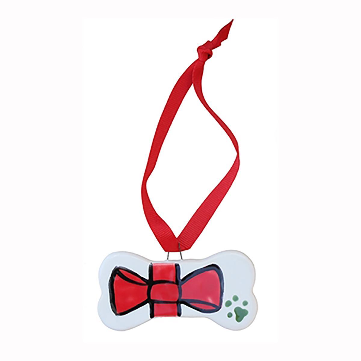 Melia Ceramic Pet Ornament - Red Bow