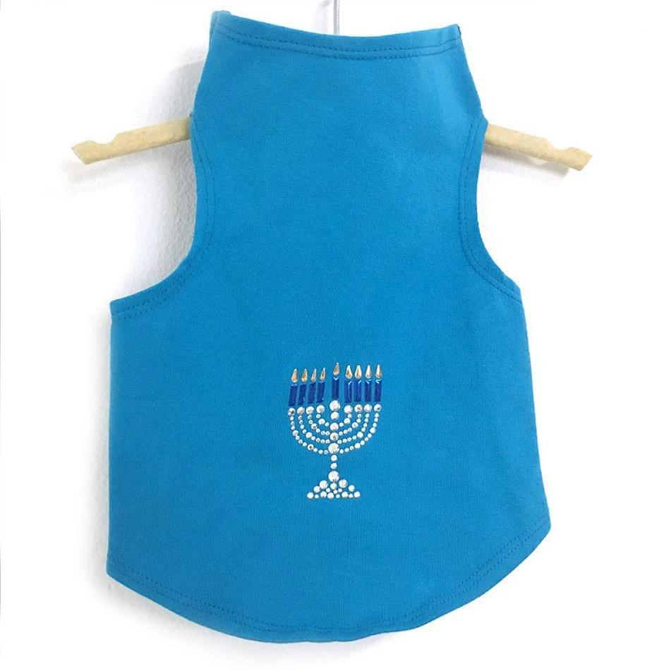 Menorah Hanukkah Dog Tank by Daisy and Lucy - Turquoise