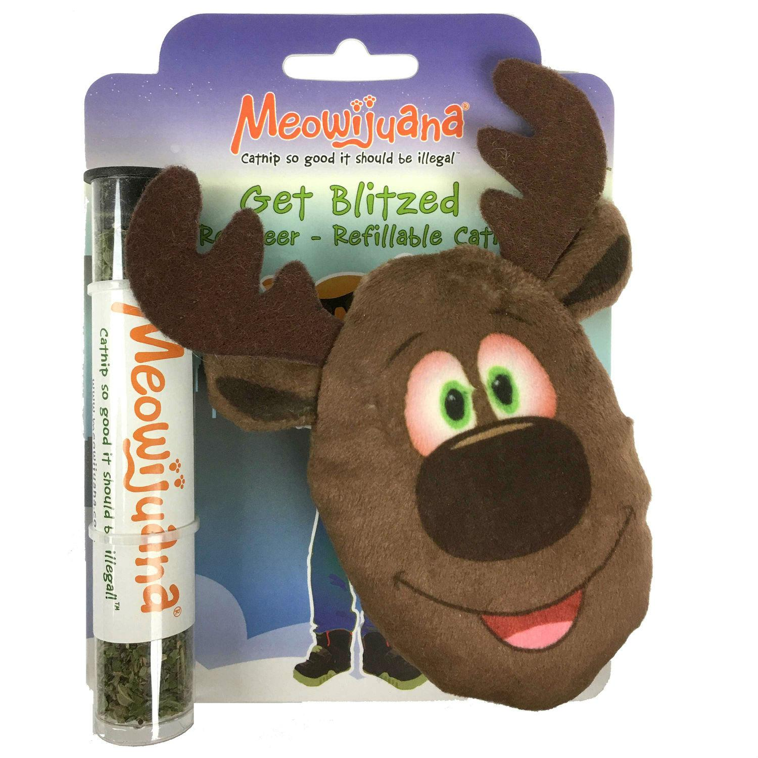 Meowjuana Get Blitzed Refillable Reindeer Cat Toy