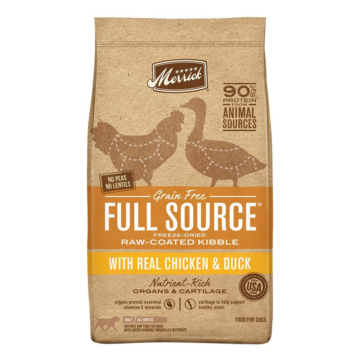 Merrick Full Source Grain-Free Raw-Coated Kibble with Real Chicken & Duck Dry Dog Food