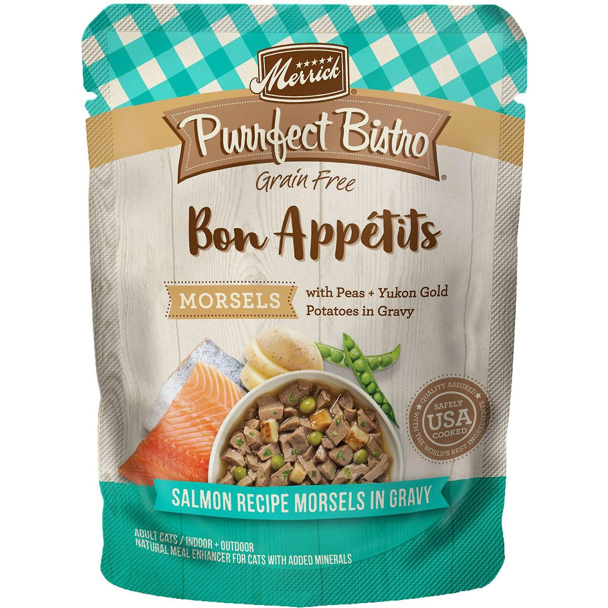 Merrick Purrfect Bistro Bon Appétits Grain-Free Adult Cat Food Pouches - Salmon Morsels in Gravy