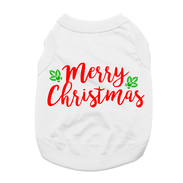 Merry Christmas Dog Shirt - White
