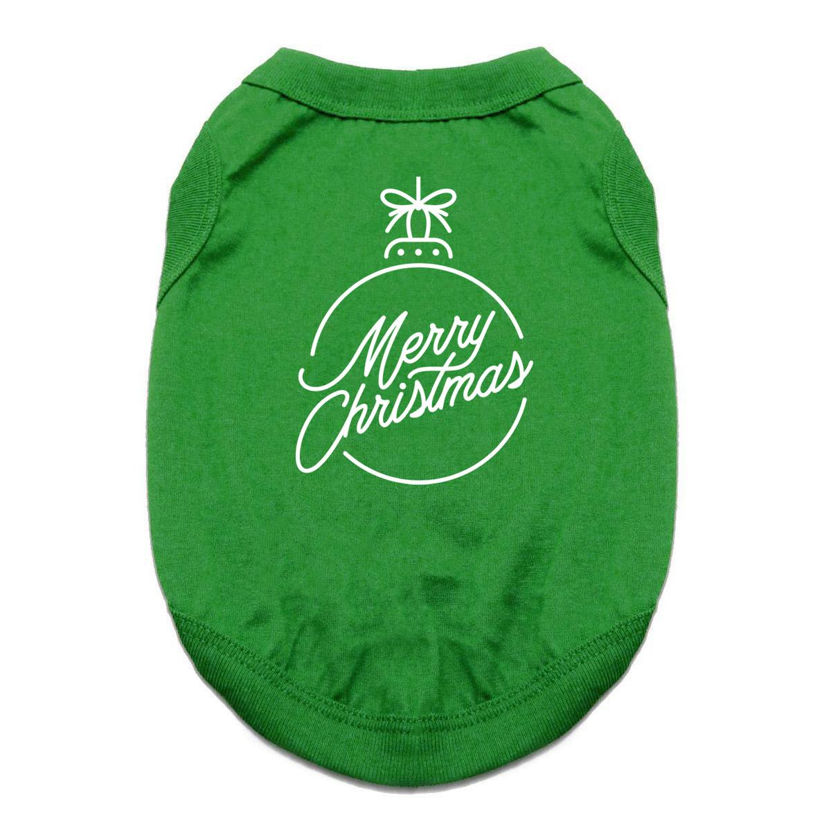 Merry Christmas Ornament Dog Shirt - Green
