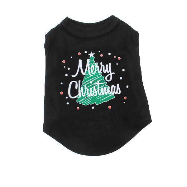 Scribbled Merry Christmas Screenprint Dog Tank Top - Black