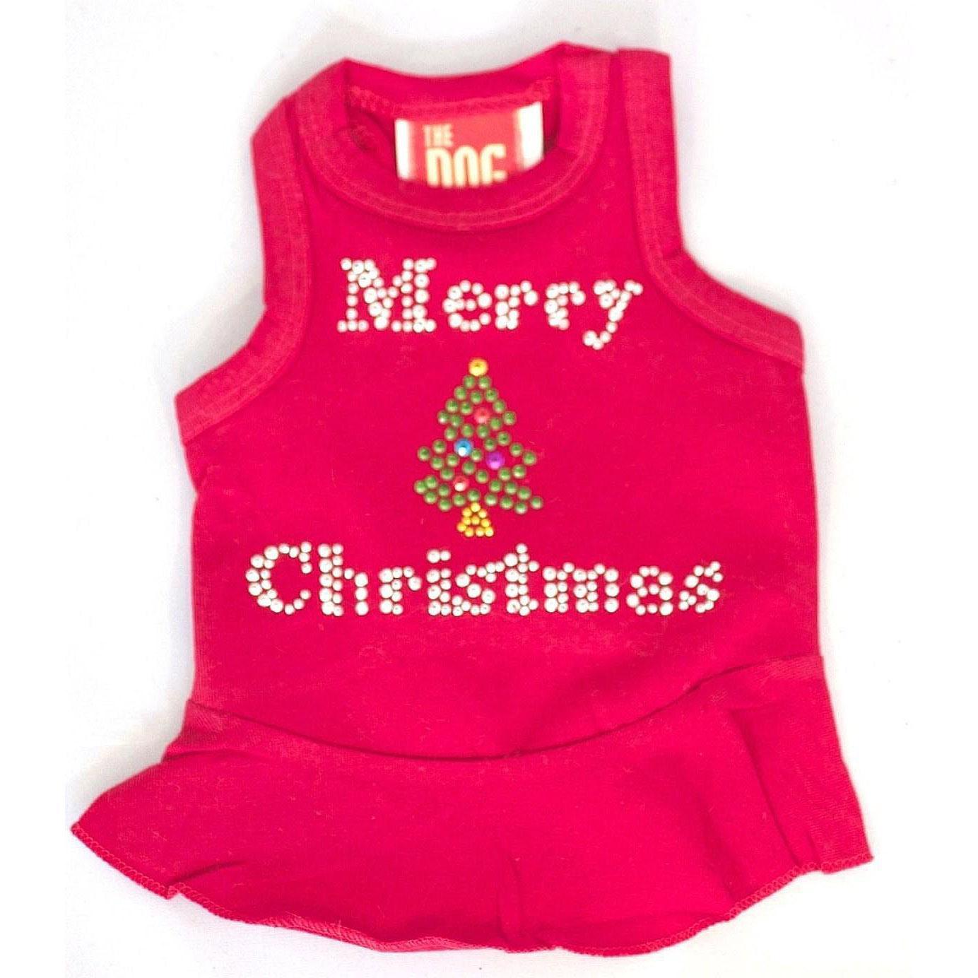 Merry Christmas Tree Rhinestone Holiday Dog Dress - Red