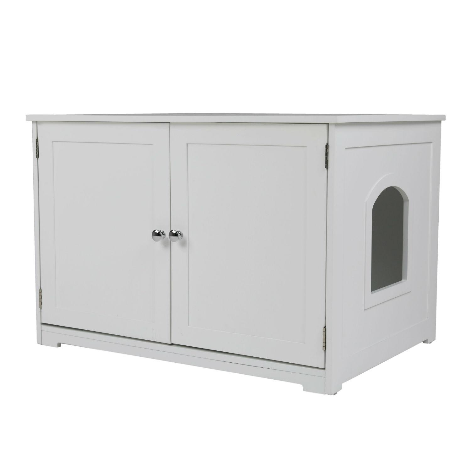 Merry Products Cat Litter Loo Bench Cat Box Enclosure - White