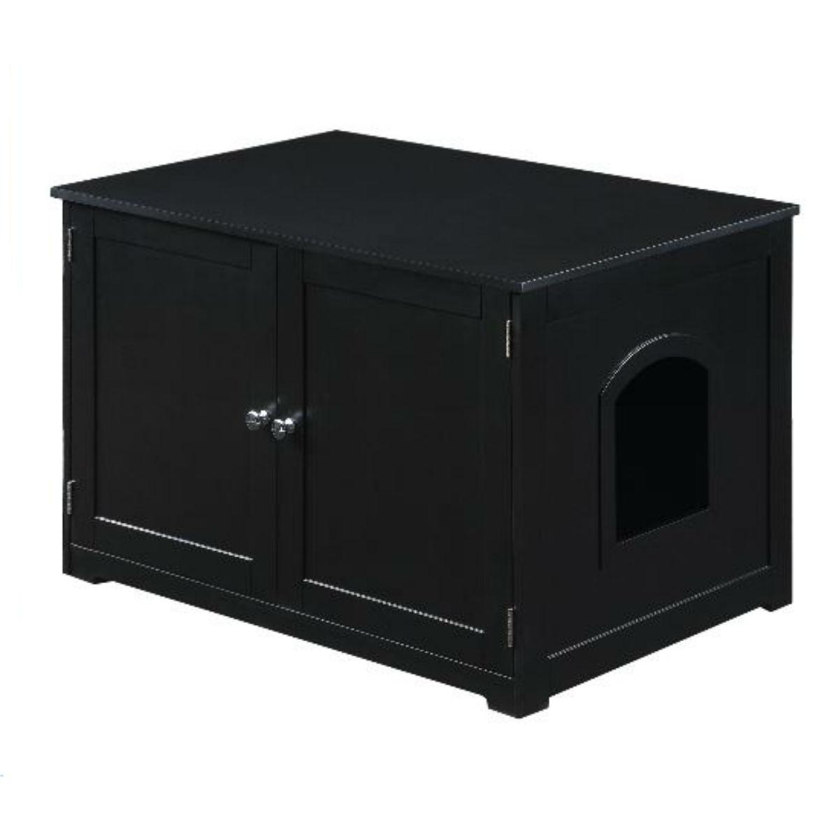 Merry Products Cat Litter Loo Bench Cat Box Enclosure - Black