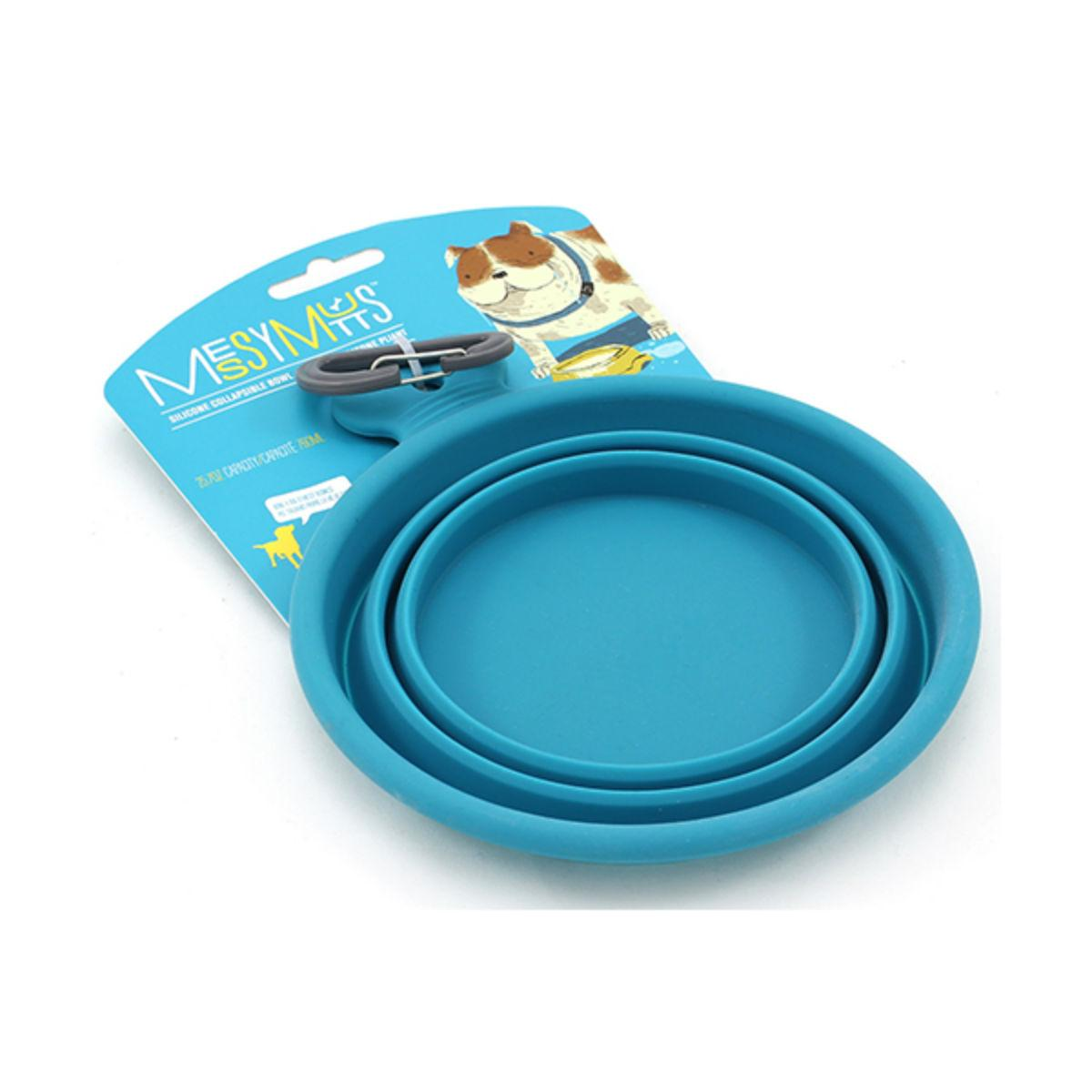 Messy Mutts Collapsible Silicone Dog Bowl - Blue