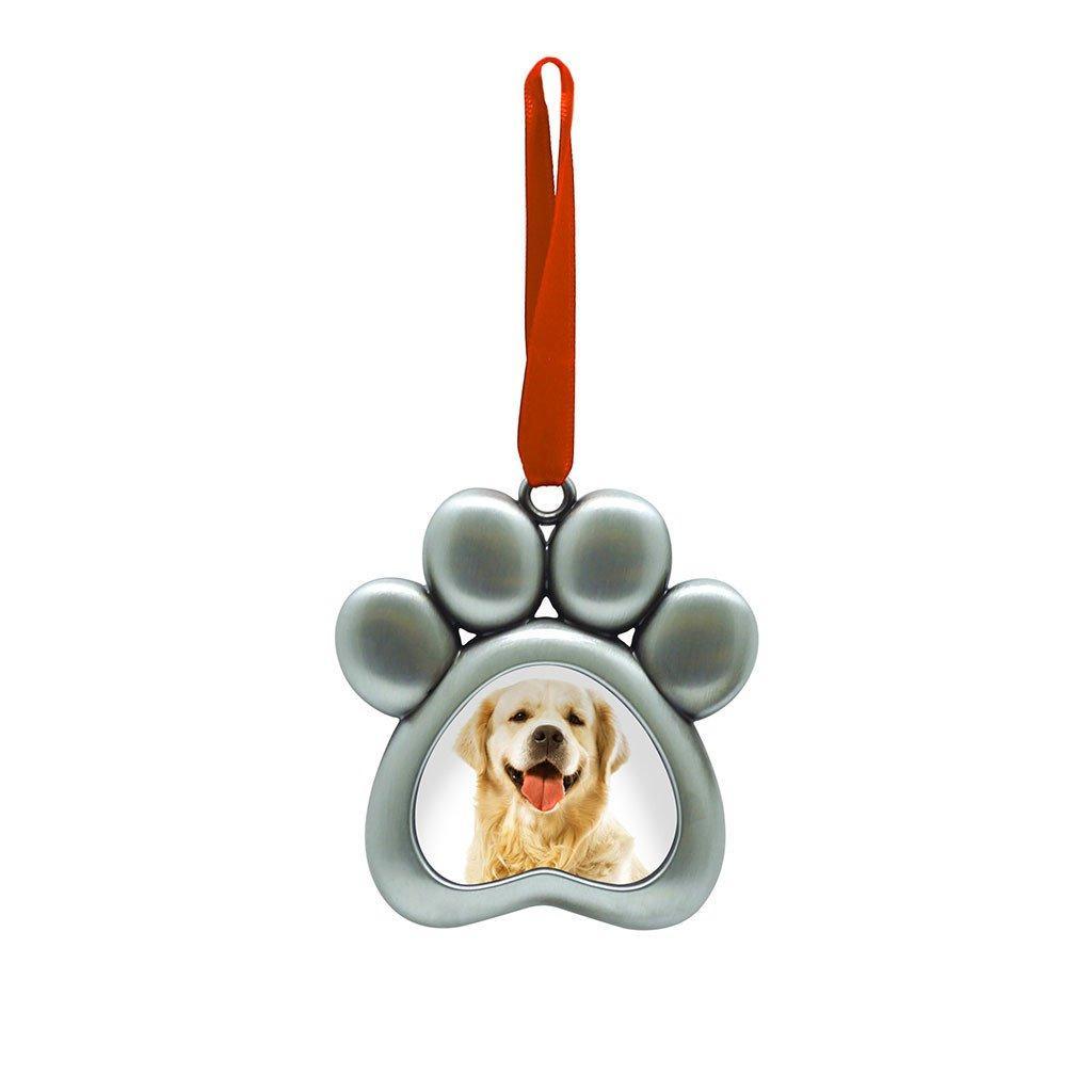 Pearhead Metal Paw Print Pet Photo Ornament