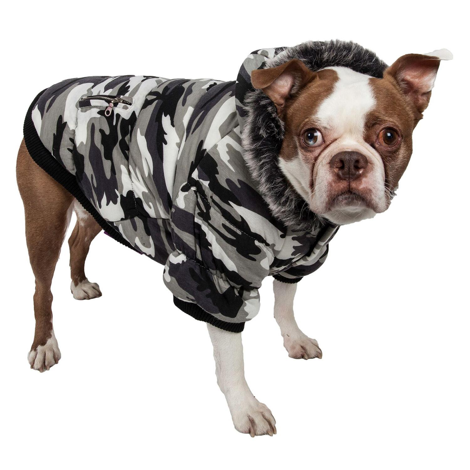 Pet Life Fashion Pet Parka Dog Coat - Snow Camouflage