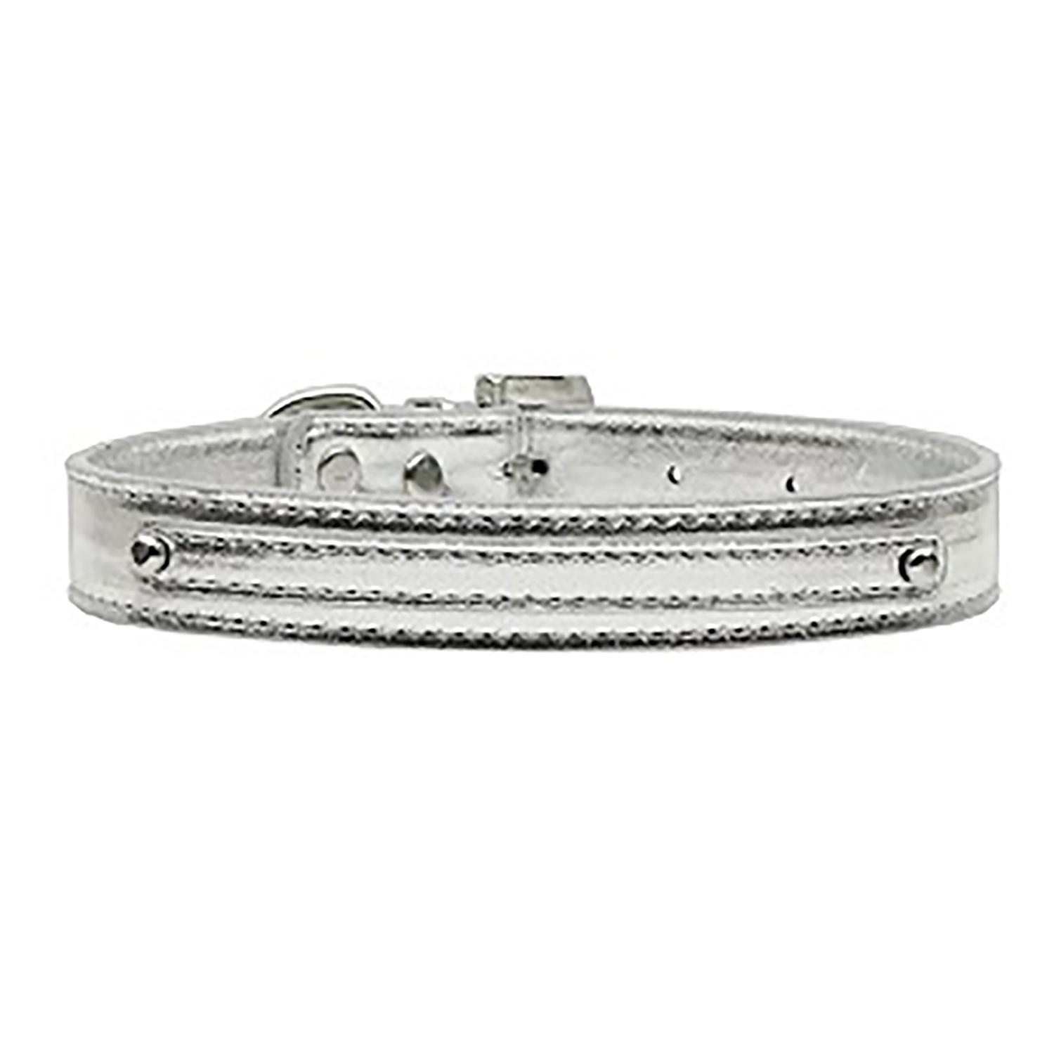 Metallic Two Tiered Dog Collar with 10MM Letter Strap - Silver
