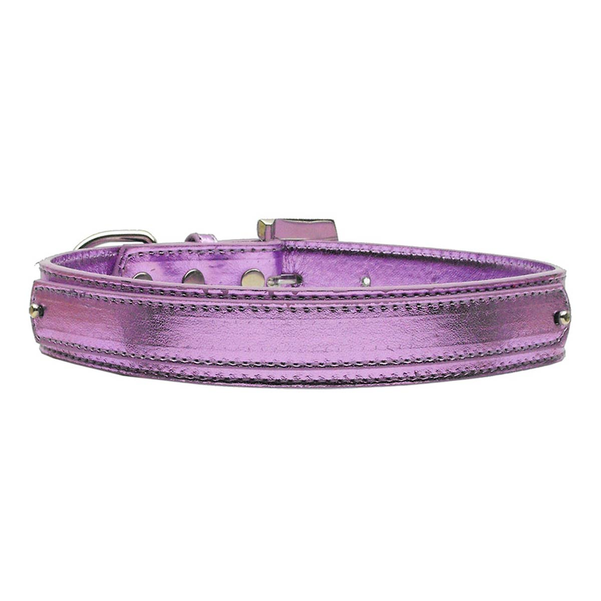 Metallic Two Tiered Dog Collar with 18MM Letter Strap - Purple