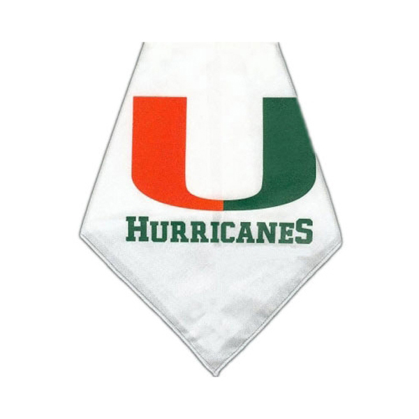 Miami Hurricanes Dog Bandana - White