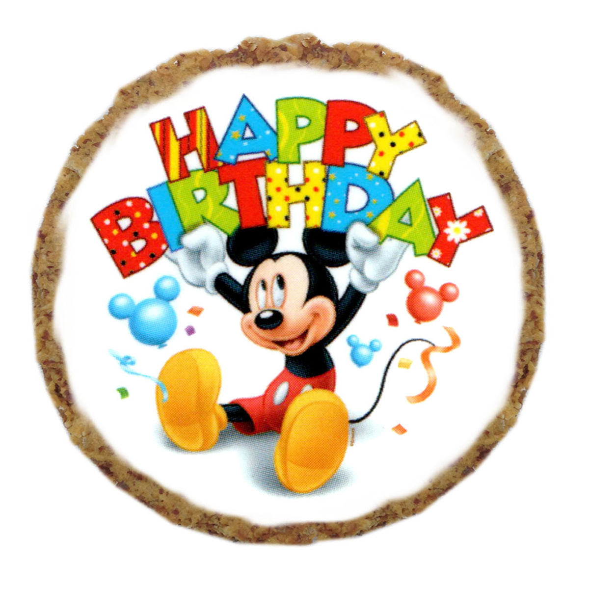 mickey mouse happy birthday dog treat cookie with same day shipping baxterboo. Black Bedroom Furniture Sets. Home Design Ideas