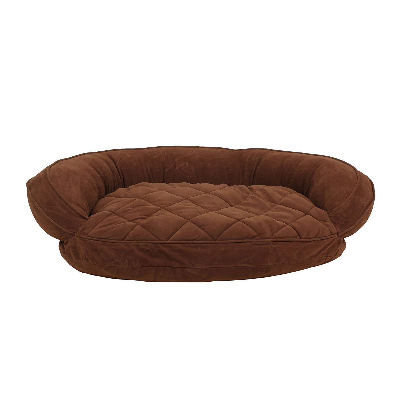 Microfiber Quilted Bolster Dog Bed with Moisture Barrier Protection - Chocolate