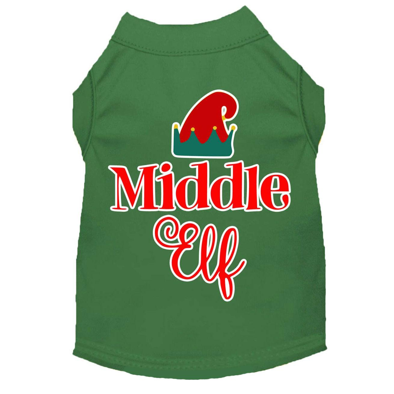 Middle Elf Christmas Dog T-Shirt - Green