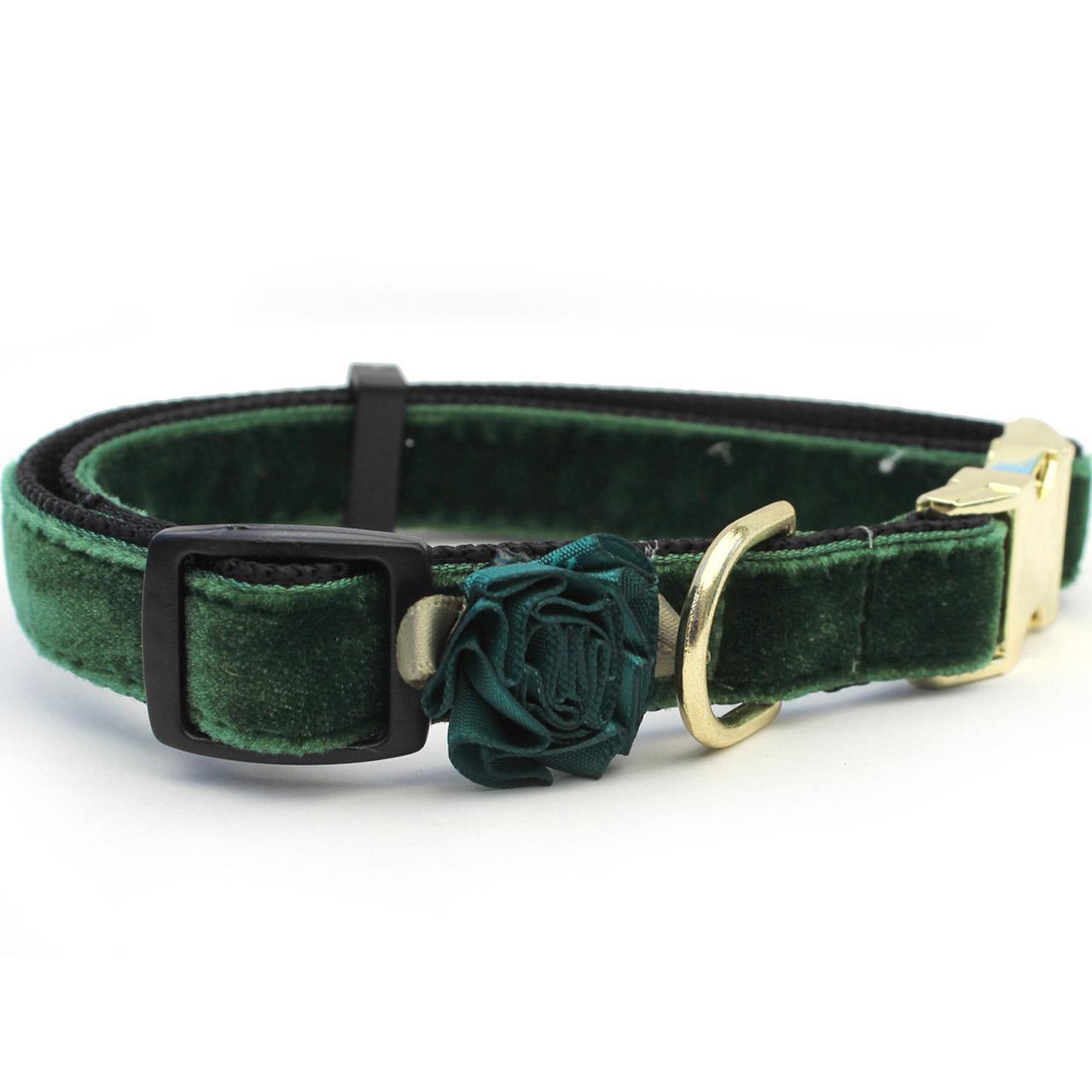 Mistletoe Velvet Dog Collar by Diva Dog - Pine Green