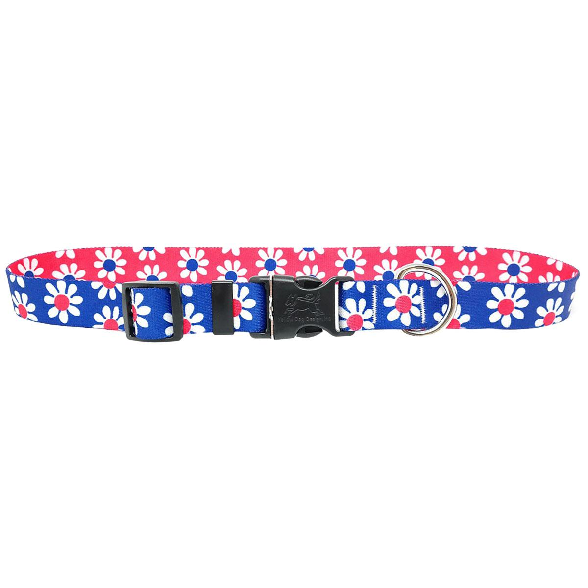 Mix and Match Daisy Dog Collar by Yellow Dog - Magenta and Royal Blue