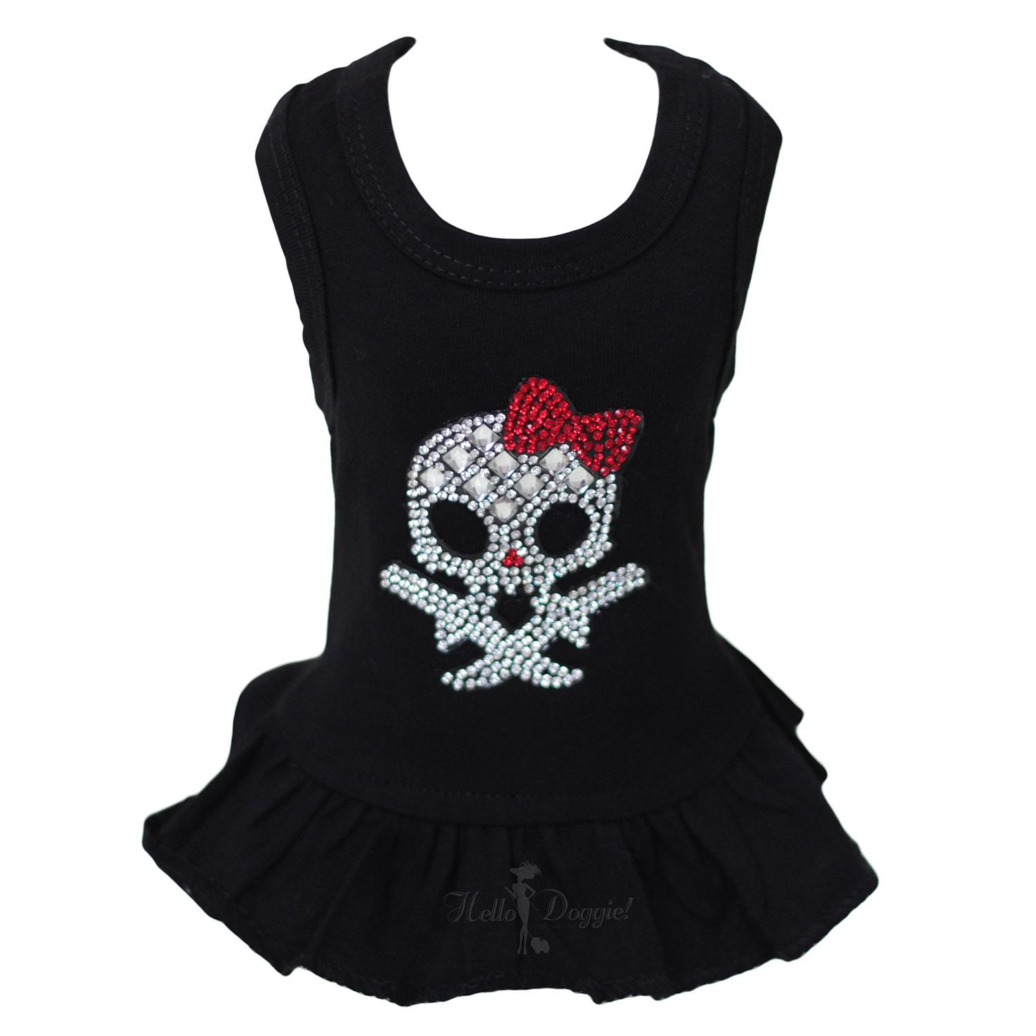 Molly Skull Dog Dress with Red Bow