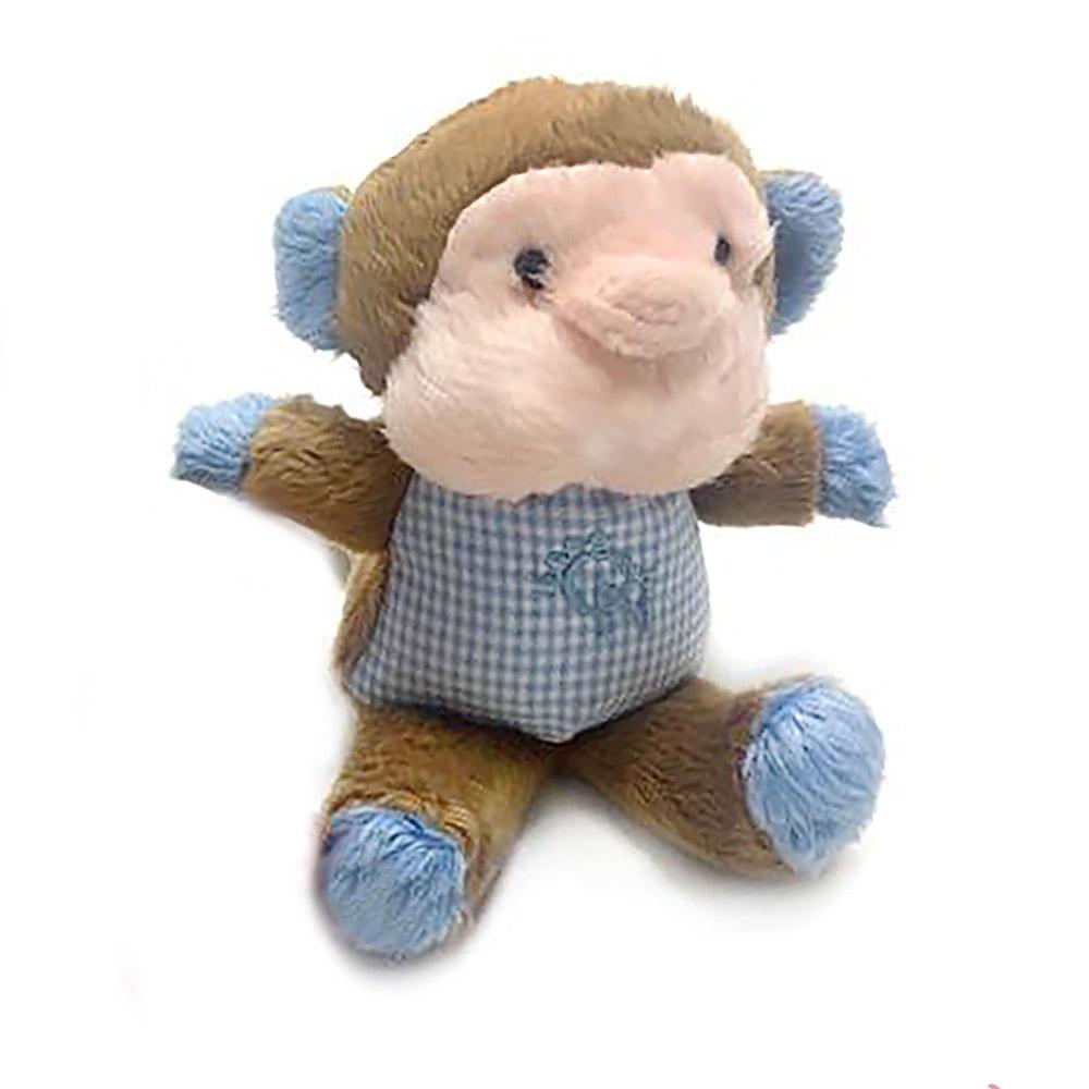 Monkey Safari Baby Pipsqueak Dog Toy By Oscar Newman - Blue