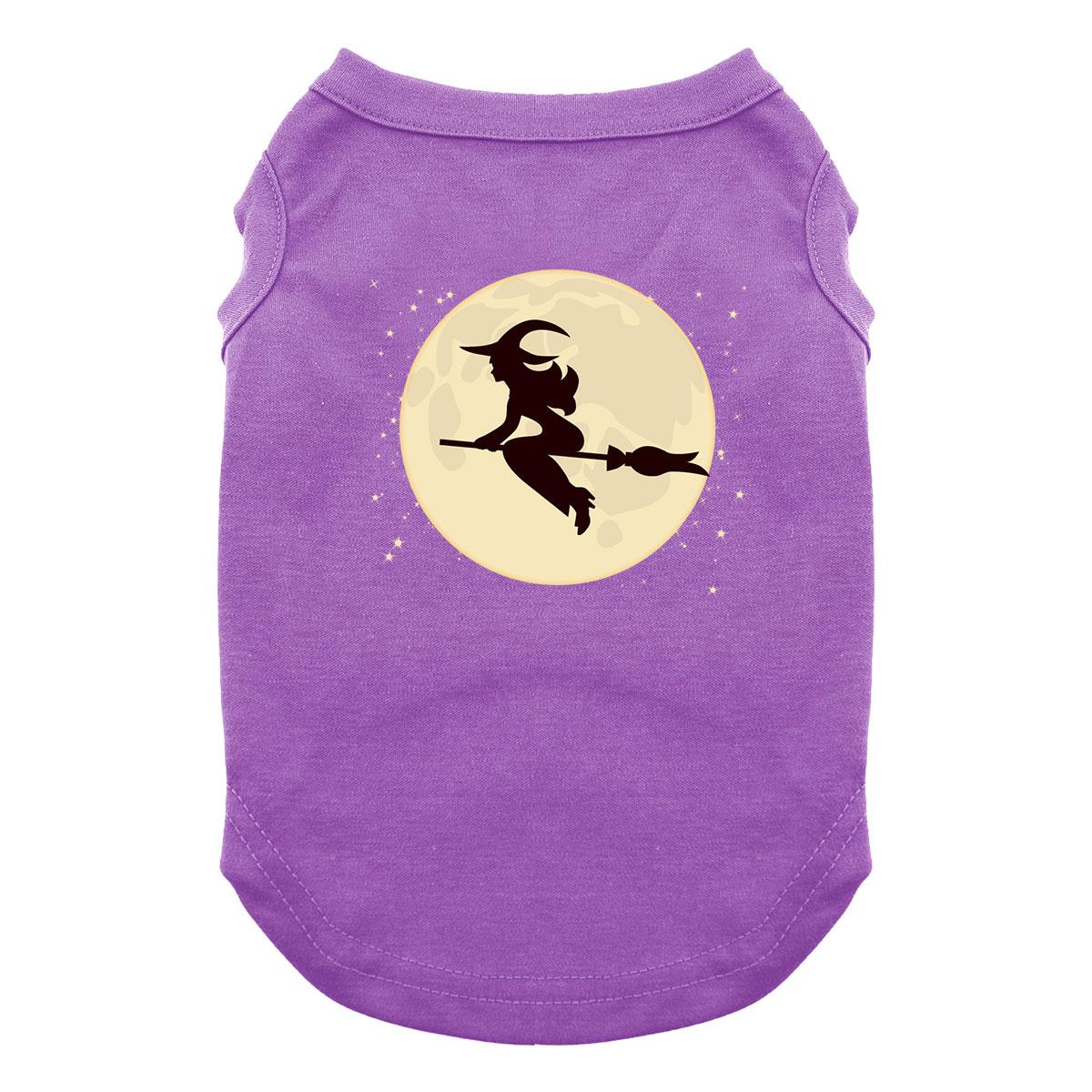 Moonlight Witch on a Broom Dog Shirt - Purple