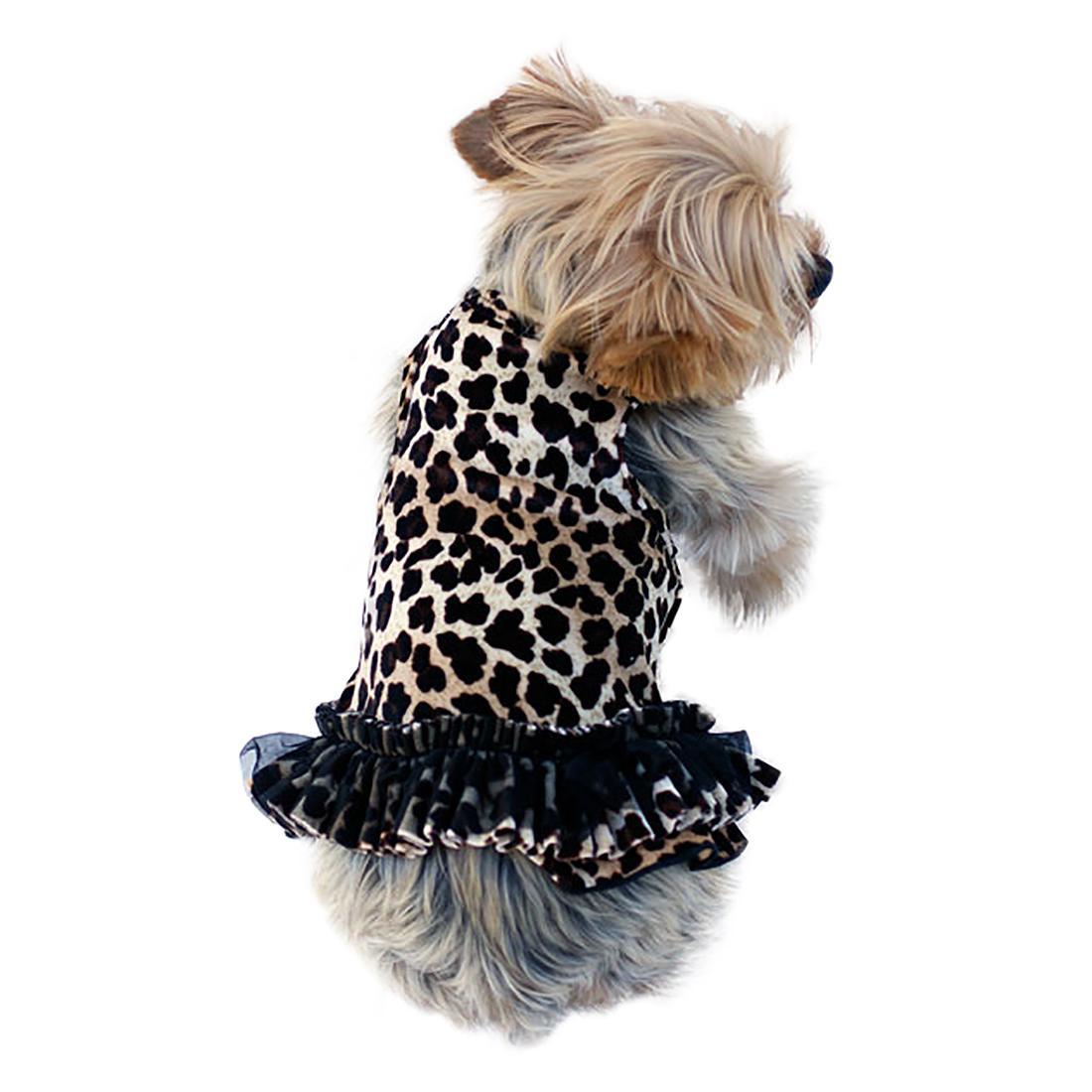 Movie Star Tutu Velvet Dog Dress - Leopard