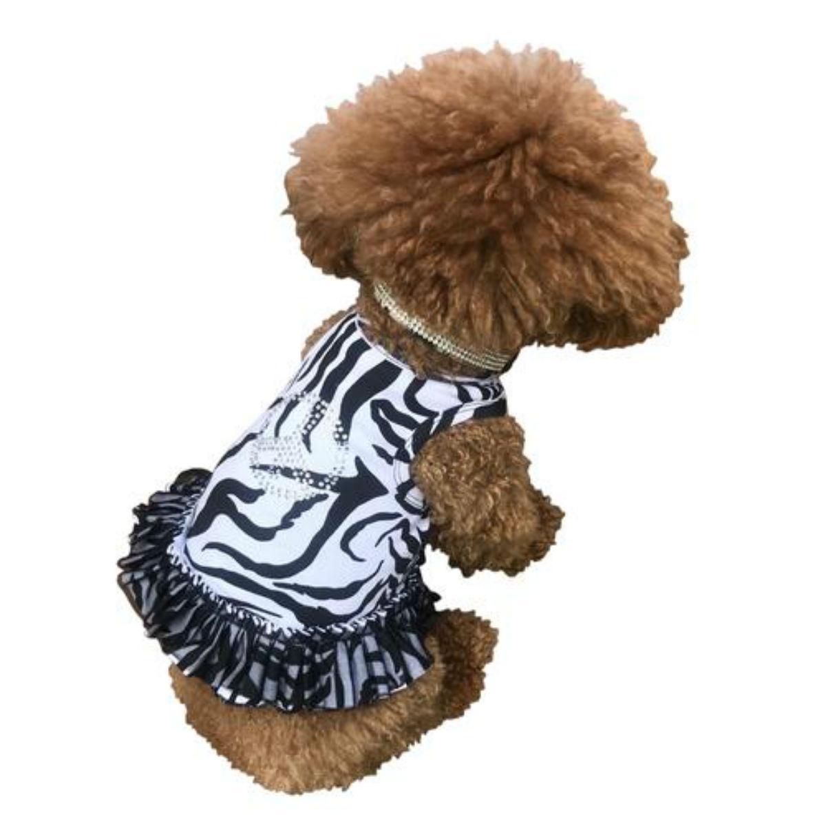 The Dog Squad's Zebra Peace Sign Tutu Dog Dress
