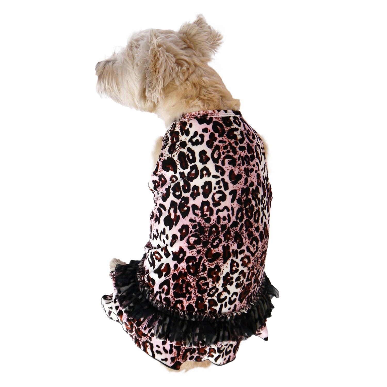 Movie Star Tutu Velvet Dog Dress - Pink Leopard