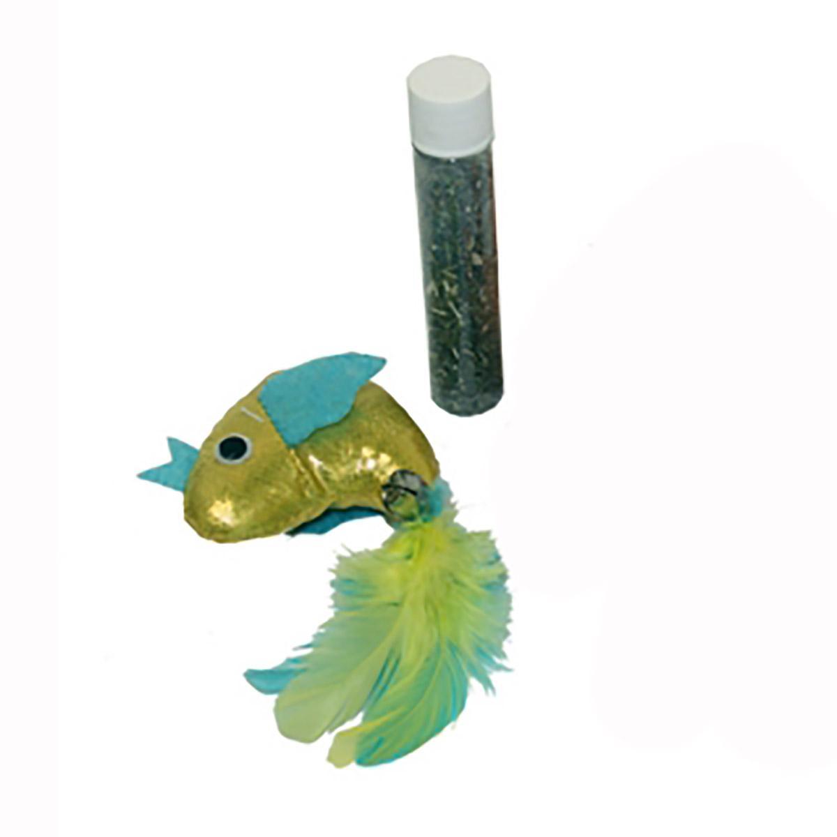 MultiPet Fish Cat Toy - Refillable Catnip Tube
