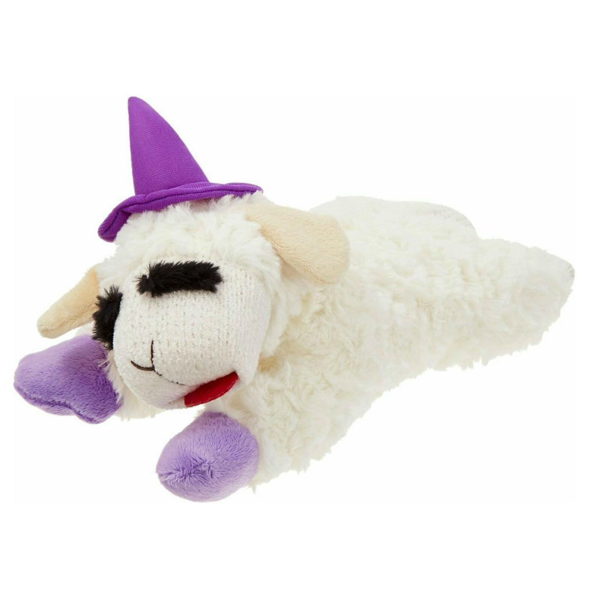 Multipets Halloween Lamb Chop Dog Toy - Purple Witches Hat