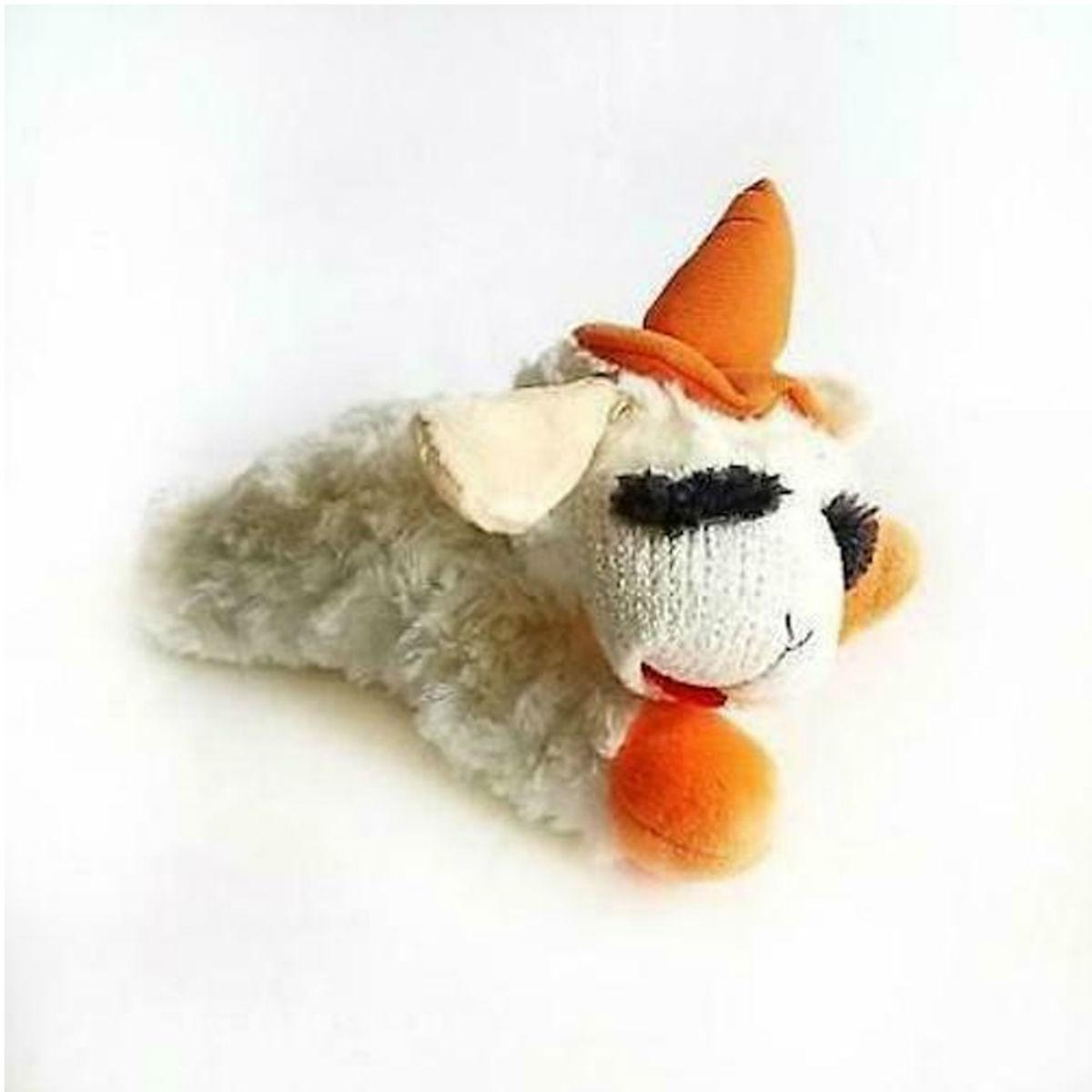 Multipets Halloween Lamb Chop Dog Toy - Orange Witches Hat