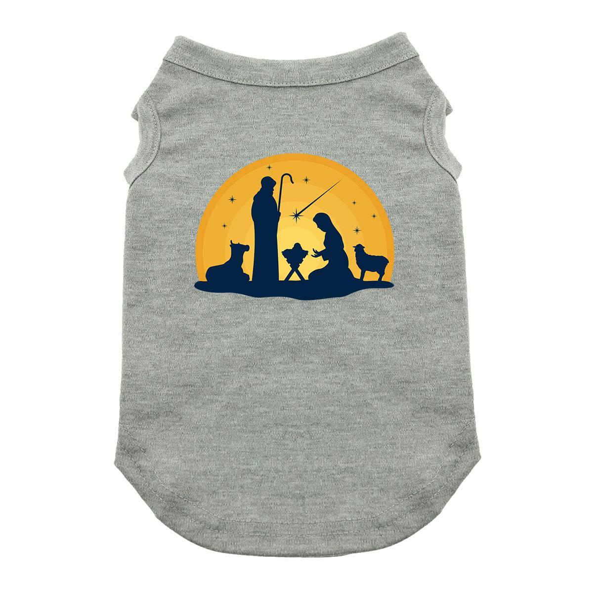Nativity Scene Dog Shirt - Gray