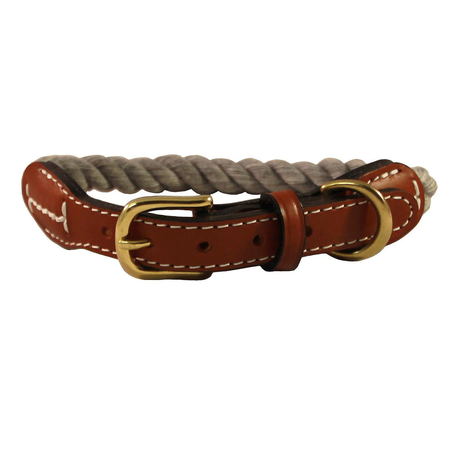 Natural Cotton and Leather Rope Dog Collar by Auburn Leathercrafters - Grey