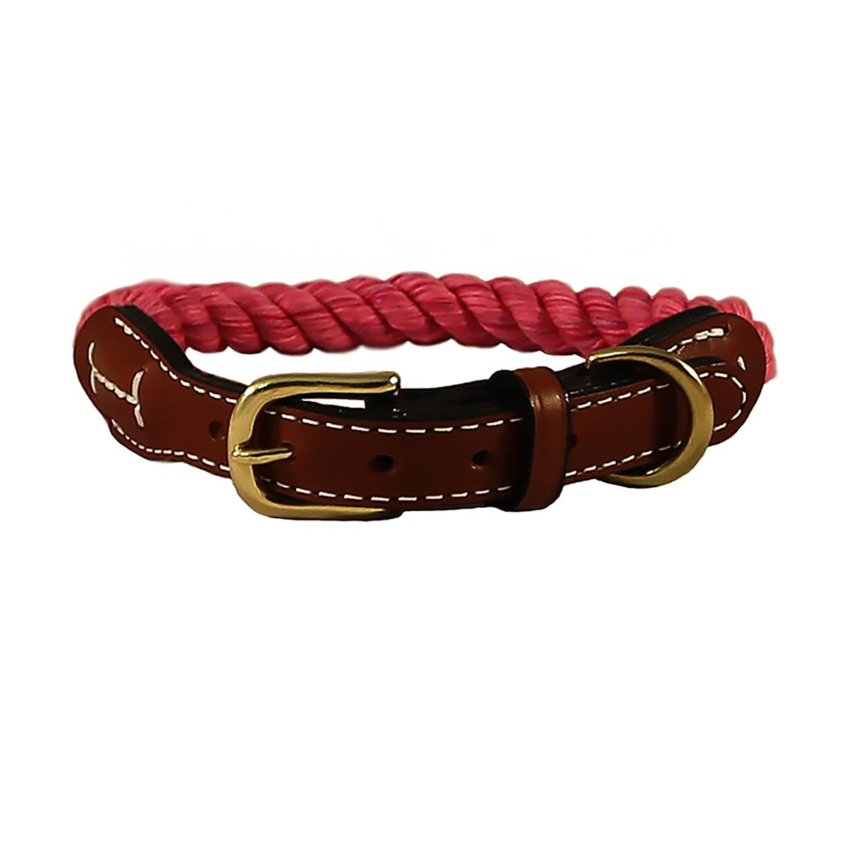 Natural Cotton and Leather Rope Dog Collar by Auburn Leathercrafters - Pink