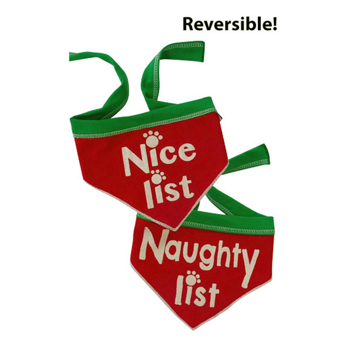 Naughty List/ Nice List Reversible Dog Bandana Scarf