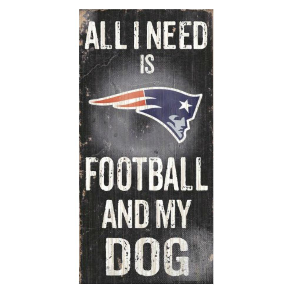 New England Patriots Football and My Dog Wood Sign