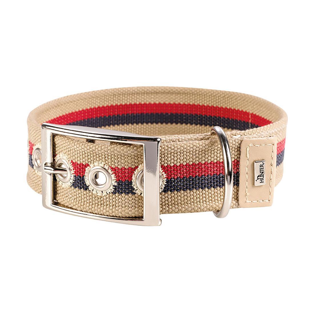 New Orleans Cotton Stripe Dog Collar by HUNTER - Beige