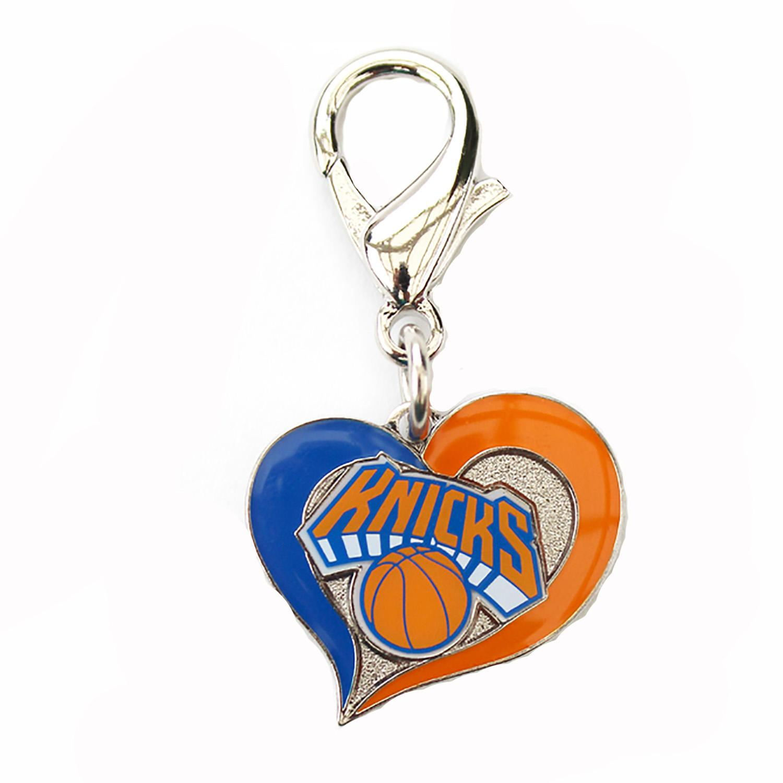 New York Knicks Swirl Heart Dog Collar Charm