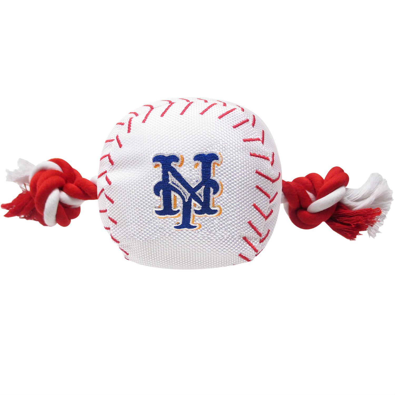 New York Mets Nylon Plush Baseball Rope Dog Toy