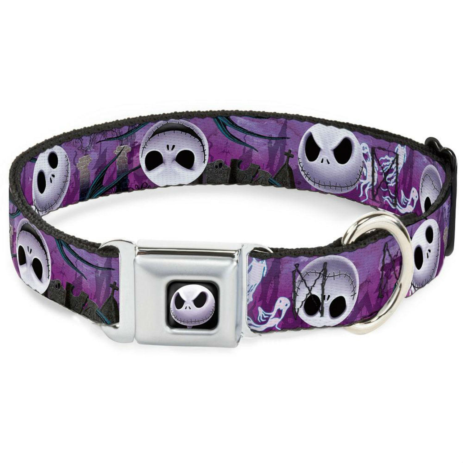 Nightmare Before Christmas Seatbelt Buckle Dog Collar by Buckle-Down - Purple