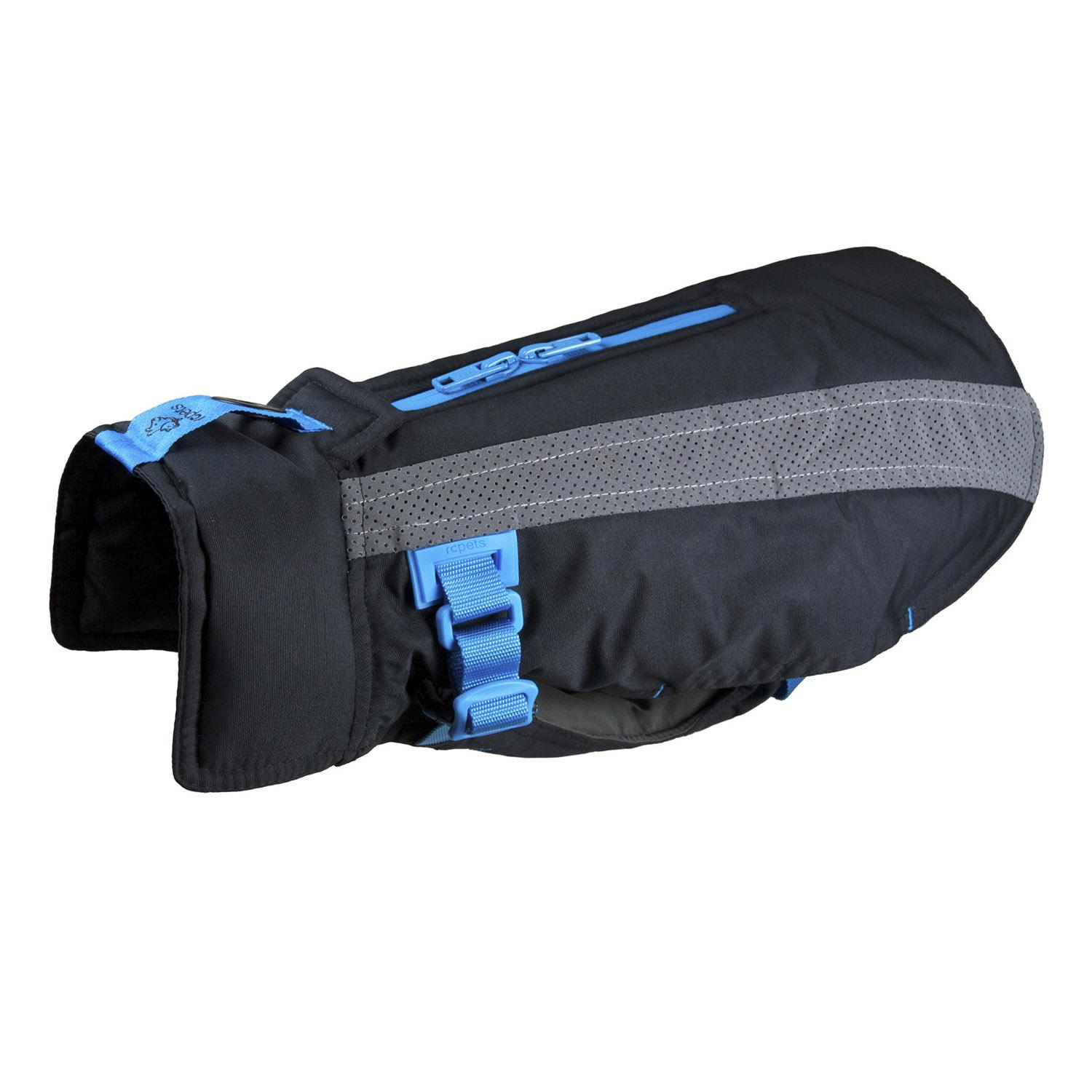 Vortex Parka Dog Coat - Black and Cyan