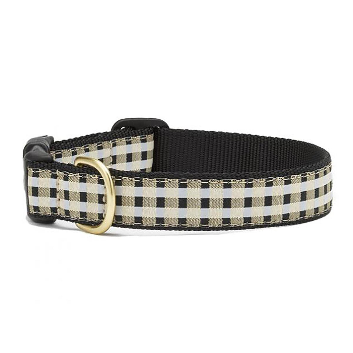 Black Gilt Check Dog Collar by Up Country