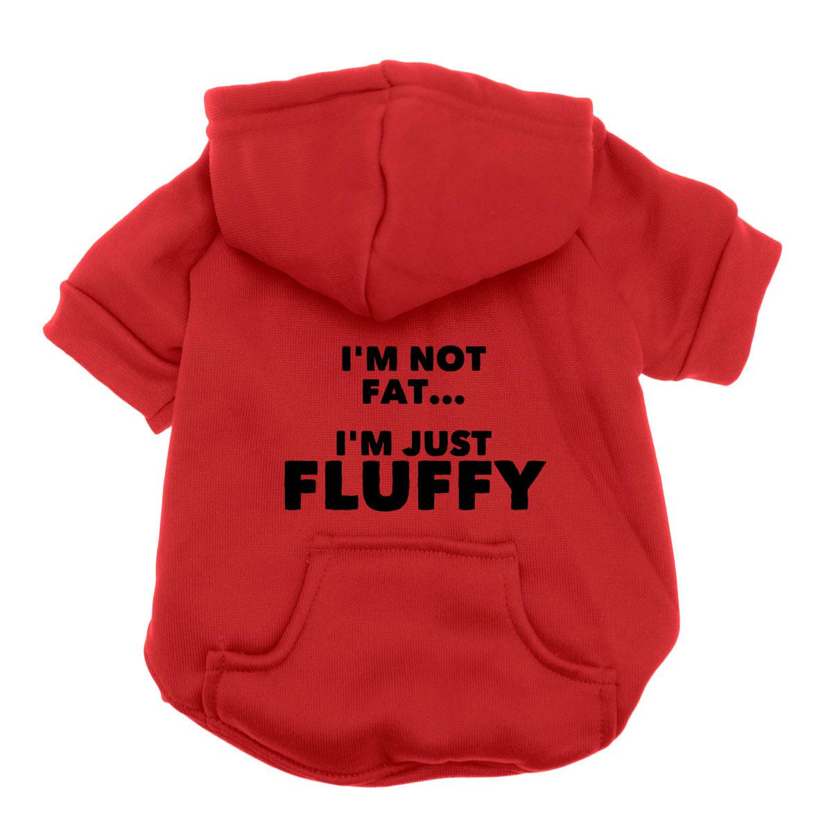 Not Fat Just Fluffy Dog Hoodie - Red