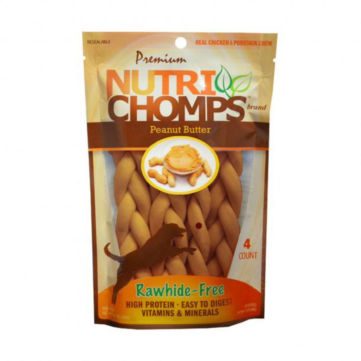 Nutri Chomps Braid Dog Treats - Peanut Butter
